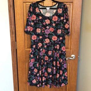 Lularoe Cottony Stretch Floral Nicole Dress NWOT